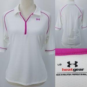 Under Armour HeatGear White Magenta Piping Shirt L